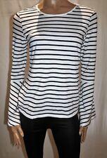 PORTMANS Brand White Navy Stripe Long Bell Sleeve Blouse Top Size M BNWT #SU26