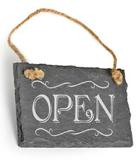 Beautiful Laser Engraved Small Slate Open Closed Shop Hanging Door Sign Plaque