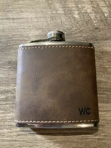 6 Oz Leather Covered Steel Travel Hip Flask