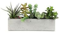 Concrete Windowsill Planter 12 Inch Flower Pot Handmade Home & Garden Decor Gray