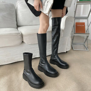 Gothic Ladies Combat Ankle Knee-high Boots Chunky Heel Platform Black Boots Shoe