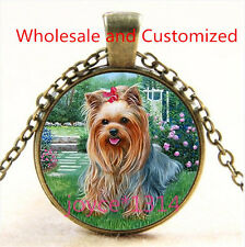 Yorkshire Terrier Cabochon bronze Glass Chain Pendant Necklace TS-4850
