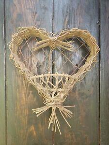 Rustic Heart Shaped Wicker Woven Grapevine Wall Pocket Planter Hanging Basket
