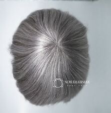 Mens Hair Replacements System European Virgin Human Hair Toupee Grey Hairpieces