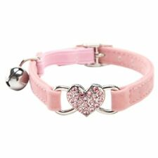Heart charm and bell cat collar safety elastic adjustable with soft velvet I6N5