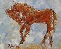 ANDRE DLUHOS ORIGINAL OIL PAINTING Horse Equine Equestrian Wild Southwest Sun