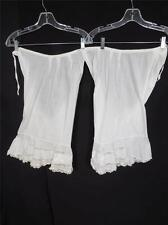 Antique Size Medium Victorian-Edwardian Hand Embroidered White Cotton Bloomers