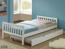 NEW MELROSE MISSION STYLE WHITE FINISH WOOD TWIN BED w/  UNDER BED TRUNDLE