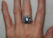 VINTAGE STERLING SILVER FROG WITH MOVABLE LEGS RING - SIZE 6.25  -  LB-C0306
