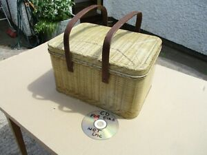 VINTAGE DECOWARE TIN  PICNIC PASKET  WITH WOODEN HANDLES.