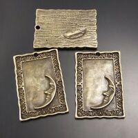 Antiqued Bronze Tone Alloy Moon Partten Rectangle Plates Pendant Charms 15pcs