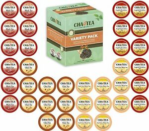 Cha4TEA 36 K Cups Tea Variety Sampler Black Tea English Breakfast Chai Earl Grey