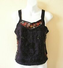 Dark Purple Boho Hippie Heavily Embroidered Patchwork Gothic Top Blouse - XS & S