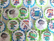 30 SUPER WHY  Cupcake Toppers Birthday Party Favors, Baby Shower decoration 30