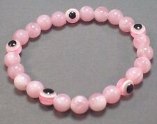 EVIL EYE Stretch Bracelet 8mm Beads Good Luck All-Seeing Eye PINK Low Stock!