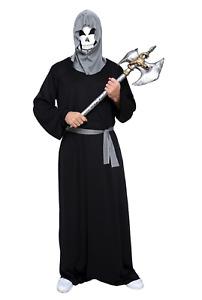 Halloween Black Phantom Darkness Grim Reaper Executioner Hooded Costume Mask