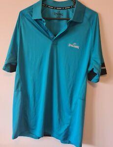 Spalding Mens Teal blue with black strip & detail Driform Polo Shirt, Size M