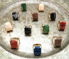 Large SQUARE MARBLEIZED STONE ENCASED Gold Metal PLUS SIZE Fashion RING