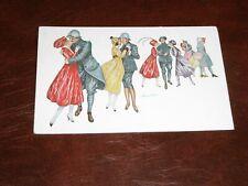 ORIGINAL XAVIER SAGER SIGNED ART NOUVEAU GLAMOUR POSTCARD - FIGURES DANCING.