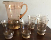 Gorgeous Vintage  1959s Rise & Gold Glass Jug With 5 Glasses