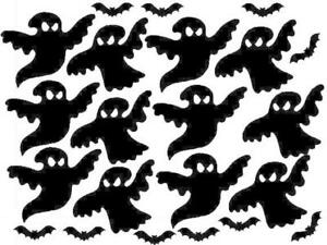 12 Haloween Ghost and 10 Bat Stickers, Glow in the Dark ! Luminescent !!