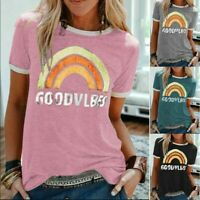 Women Casual Rainbow Print T Shirt Casual Summer Short Sleeve Tops Blouse Tee US