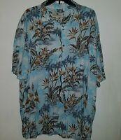 Island Shores Blue Floral Hawaiian Aloha Camp Shirt Men's XXL