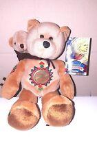 "SACAGAWEA One Dollar Coin Native American Costume Teddy Bear with Baby Bear 9"""
