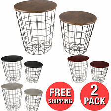 2 Convertible Nesting End Tables Metal Baskets Wooden Top Home Office Furnitures