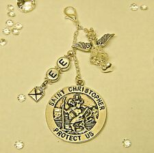 PERSONALISED GUARDIAN ANGEL ST CHRISTOPHER MEDAL Travel Holiday lucky charm gift