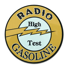 Radio High Test Gasoline Gas Motor Oil Insignia Round MDF Wood Sign