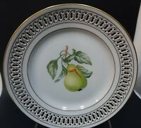 "SH6 b&g BING & GRONDAHL RETICULATED FRUIT PLATE, 8 1/2"" porcelain PEAR"
