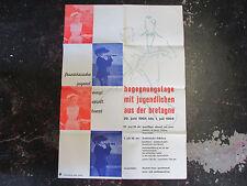 Ancienne AFFICHE Concert FOLKLORE BRETON BRETAGNE FRANCE ALLEMAGNE LIMBURG 1964