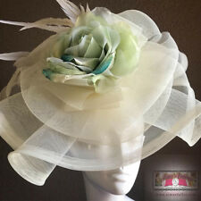 Royal Ascot Fascinator Hat Cream Blue Rose Flower Kentucky Derby Polo Del Mar