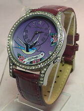 Ladies Ed Hardy Elizabeth Purple Band Watch WORKS