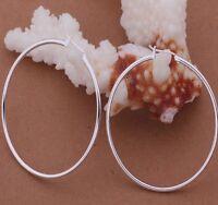 Hoop Earrings Sterling Silver Large Round Drop Dangle Women's Fashion Jewelry