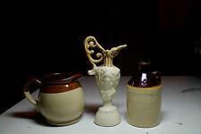 lot old little brown whisky jug USA pottery creamer pitcher flower vase tan