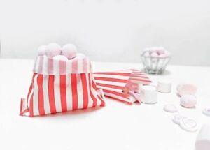 24 Papiertüten gestreift in rot weiß Partytüten Candy Bags Geschenke Candy Bar