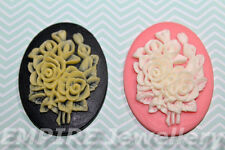 2 x Mixed Rose Resin Cameo 40x30mm Flatback Cabochon Flower Pink Black