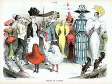 FREAKS OF FASHION SHOW IN 1888 DRESSES HATS SUIT COAT TIE UMBRELLA CANE FEATHER