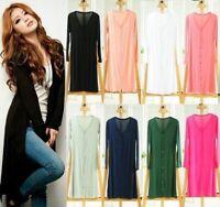 Womens Casual Long Sleeve Cardigan Knit Knitwear Sweater Coat Long Gown Outwears
