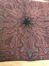 Antique Edwardian Victorian Shawl Kashmir Wool Paisley Handwoven Red Blue Star