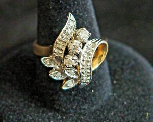 Vintage diamond 14K gold ribbon and floral design cocktail ring size 6