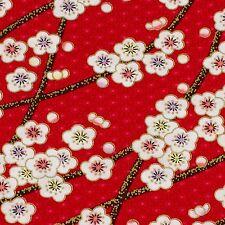 Red Japanese oriental  Kimono Sakura blossom fabric cotton fat quarter FQ #F0010