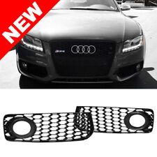 08-12 Audi A5 S-Line / S5 B8 RS5 Style Black Fog Light Grilles w/ Black Trim