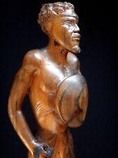 Ancien guerrier madagascar 36cm sculpture bois signé Old  wooden african 1940