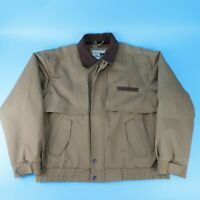 VTG Wrangler Outerwear Mens Tan Rugged Work Jacket Coat Flannel Lined Size XL