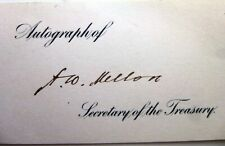 Andrew W Mellon Treasury Secretary 1921-32 Autographed Card And Plate Bloc