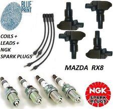 MAZDA RX8 Ignition COILS & PLUG LEADS & NGK SPARK PLUGS Service Ignition Kit