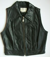 Hugo Buscati Black Leather Top Womens 6 Zip Front Sleeveless Motorcycle Clubwear
